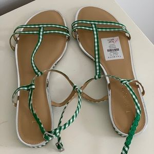 Talbots Green Gingham White Plaid Sandals